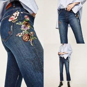 Zara》Embroidered Floral Jean's with ladybugs